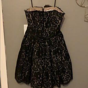 Strapless poof lace dress